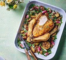 Spring one-pot roast chicken Chicken Recipes Bbc, Bbc Good Food Recipes, Veg Recipes, Recipies, Healthy Recipes, Spring One, Sunday Roast, Thing 1, Food Shows