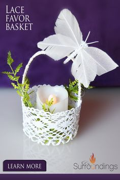 Use lace favor baskets for candles, candy, mini floral arrangements and more. Baskets may be purchased with silk roses for an additional charge. #favorcontainers #surroundings Floating Candle Centerpieces, Centerpiece Decorations, Wedding Centerpieces, Tabletop Accessories, Silk Roses, Fun Games, Floral Arrangements, Party Favors, Baskets