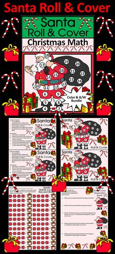 Santa Roll & Cover Christmas Math Activity Packet:  Give your students a fun and festive way to practice addition in series in a hands-on way using 4 six-sided dice and seeds, beads, or other small items as counters.  Santa Roll & Cover Christmas Math Contents Include: * Student Work Mat * Instruction Set * Student Record Sheet * Student Observation Sheet  #Christmas #Santa #Math #Activities #Dice #Teacherspayteachers