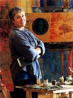 Victoria Crowe OBE DHC FRSE MA(RCA) RSA RSW. Scottish painter. Her studio