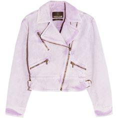 Roberto Cavalli Acid-wash denim biker jacket (€1.005) ❤ liked on Polyvore featuring outerwear, jackets, 80s jackets, asymmetrical zip moto jacket, purple motorcycle jacket, rider jacket and acid wash jacket