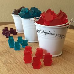 Super easy homemade Gummy Bears! 1 box of any flavor of jello mix (85gram box) 20grams of unflavored gelatin mix 1/2cup of COLD water
