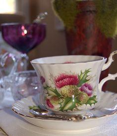 tablescape with royal albert teacups - thistle pattern montrose shape