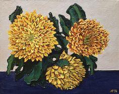 Ruben Monakhov. Yellow Сhrysanthemums. Oil on canvas,  24x30 cm., 2016.  http://rubenm.spb.ru  #painting #живопись