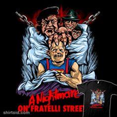 A Nightmare on Fratelli Street   Shirtoid #anightmareonelmstreet #film #mamafratelli #movies #sloth #thegoonies #zascanauta