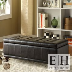 ETHAN HOME St Ives Lift Top Faux Leather Tufted Storage Bench   Overstock.com