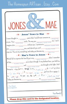 Wedding Vows Mad Libs | Printable Bridal Shower Game - Engagement Party Idea…