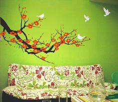 Hey, I found this really awesome Etsy listing at https://www.etsy.com/listing/73828432/red-cherry-blossom-wall-decals-birds