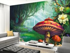 Enchanted Forest wall mural living room preview