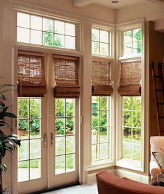 Woven wood shades. Going to do this on the french doors on our home office.