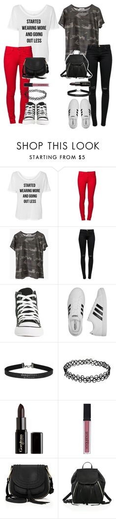 """""""Me and Me"""" by weirdestgirlever ❤ liked on Polyvore featuring Ragdoll, J Brand, Converse, adidas, Gorgeous Cosmetics, Smashbox, Chloé and Rebecca Minkoff"""