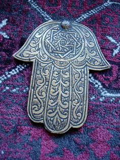 Large gold Moroccan Jewish Berber hand of Fatima by HilarysBazaar, $54.00