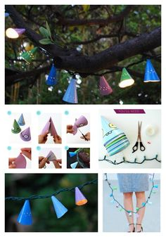 DIY Birthday Hat Lights - cut the base off of cone birthday hats, polk some holes using thumb tacks, and wrap the hats around string lights.