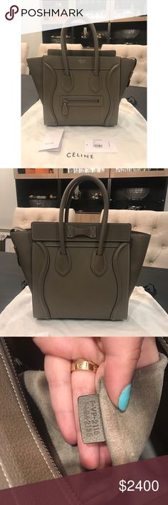 Celine Micro handbag Pre owned celine micro luggage. Comes with dust bag and tags. Please see photos of condition. Handbag is very clean only carried a few times. Has suede interior. Celine Bags