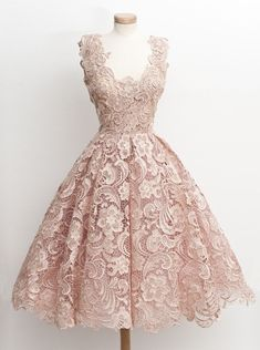 Vintage 50s Style Knee-Length Sleeveless Lace Blush Party Prom Dress
