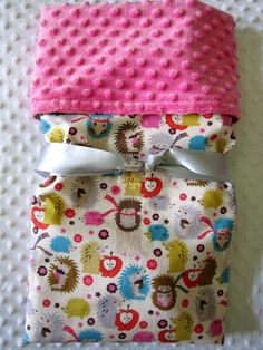 {{Oh My Gosh}}... who doesn't like Hedgehogs??! Baby Girl Large Minky Blanket  Lil Hedgehogs by BucciAndBubba, $34.00