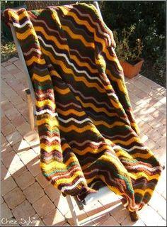 Plaid crochet Ripple Blanket