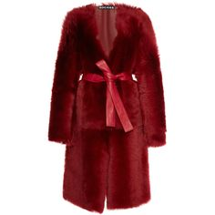 Rochas Belted Shearling Coat ($5,645) ❤ liked on Polyvore featuring outerwear, coats, burgundy, rochas coat, red coat, shearling coat, tie belt and sheep fur coat
