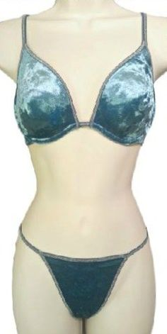 29.00$  Buy now - http://viewc.justgood.pw/vig/item.php?t=39fhkv8288 - VICTORIA'S SECRET Vintage Body Bare Velvet Glitter Plunge Bra Set Teal 34C/S 29.00$