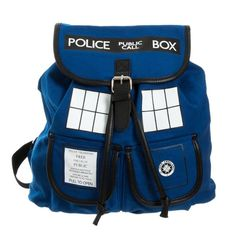 - Doctor Who backpack featuring the TARDIS - Magnetic buckles secure the front flap - Adjustable shoulder straps - Includes a zippered compartment and one outer magnetic buckle pocket - Lining inside