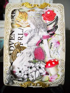 #Alice #ATC (shadow box 3D ATC card, frame is vintage paper piece, spun cotton mushroom, charms and various other pieces)