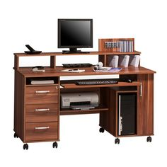 Maja Exeter Mobile Office Walnut Computer Workstation 9475   From A  Selection Of Office Desks With Wheels.