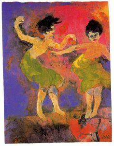 Emil Nolde (1867-1956 ) Zijn werk bestond aanvankelijk voornamelijk uit landschappen en portretten. Vanaf 1909 volgden een reeks religieuze onderwerpen (Pinksteren en Avondmaal) en stillevens met primitieve plastieken en maskers. In 1913-15 trok hij als lid van een etnologische expeditie mee naar Rusland, China, Japan en Polynesië. Daaruit resulteerde een reeks aquarellen met exotische onderwerpen.