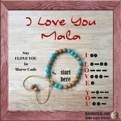Morse code Mala bead bracelet - meditate + manifest with reiki charged gemstones with a secret message to yourself, the universe or that someone special.... Tigerskin Jasper + Turquoise gemstones are hand-knotted between the letters and each word is separated by a Tibetan silver rondelle.