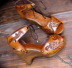 Clog Shoe Tooled Flower Bohemian Wedge