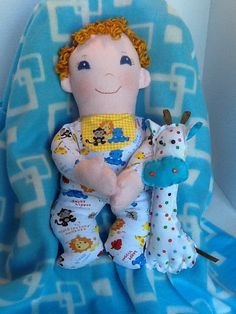 "PDF Cloth Rag Doll Pattern Baby Boo - Easy Great Beginner Sewing Pattern for 15 "" Cloth Doll by Peekaboo Porch"