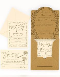"Oh So Beautiful Paper: French ""Garden Party"" Kraft Paper Invitation Suite in this adorable mailer."