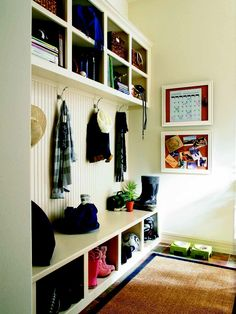 Stop clutter at the door with this organized everyday entry #Pulte  This is exactly what I need at my back door !  We don't wear shoes in the house  because I can not tolerate dirty floors . Awesome Idea !!!