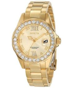 Invicta Women's 15252 Pro Diver Gold Dial Gold Plated Stainless Steel Watch (I love Invicta watches) Stainless Steel Watch, Stainless Steel Bracelet, Patek Philippe, Sport Watches, Dream Watches, Luxury Watches, Watch Brands, Chronograph, Bracelet Watch