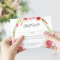 Vízfestékes Rózsakoszorús Esküvői RSVP Válaszkártya - Esküvői Meghívó, Alkalmi és Családi Grafika Webáruház Wedding Rsvp, Response Cards, Place Cards, Place Card Holders