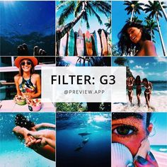 Beach / Tropical Instagram theme idea. Using filter G3 in the Tropical Filter pack in Preview App.  .  About tropical filter G3:  • one of the darkest filters in the pack  • perfect for a grunge-tropical theme  • make blues very dark  • deep colors  Want more Instagram theme inspiration and feed ideas?