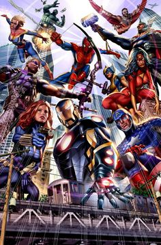 Avengers I can name them all Hulk, Falcon, Captain Marvel (the second), Spidey, Thor, Hawkeye, Wolverine, Spider Woman, Black Widow, Iron Man, Cap