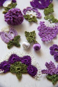 Fruits, Flowers, Leaves - no pattern oya crochet motif Crochet Motifs, Crochet Flower Patterns, Freeform Crochet, Crochet Art, Thread Crochet, Knit Or Crochet, Irish Crochet, Crochet Designs, Crochet Crafts