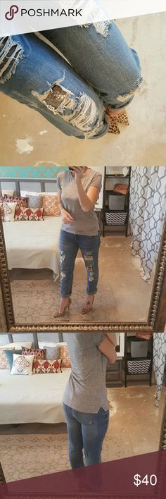 """Distressed Sequim Jeans I am selling a bada** pair of distressed jeans, with an exceptional design touch....SEQUINS in patches behind distressing.  This makes for a cool and very unique pair of jeans.  Size 29 in a straight leg design.  I love to pair this """"dressy"""" pair of jeans with a tee, a rolled hem line and sexy heels.  Dress them down for a laid back only the celebs usually have.  Excellent condition with a 31.25"""" inseam. Standards & Practices Jeans Straight Leg"""