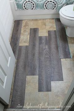 Stick on tiles - Peel and Stick Wood Look Vinyl Flooring Home Renovation, Home Remodeling, Peel And Stick Floor, Peel And Stick Vinyl, Slow Design, Cheap Bathrooms, Cheap Bathroom Remodel, Cheap Bathroom Flooring, Cheap Bathroom Makeover