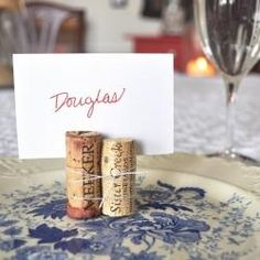 Wine Cork Name Cards... keeping the dinner party classy and natural
