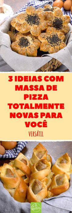 3 ideias com massa de pizza totalmente novas para você. Se você está dormindo no ponto e acha que a massa de pizza só serve para fazer pizza tradicional, se enganou! As 3 receitas a seguir trazem algo novo e divino. Se você buscava ideias de aperitivos, não precisa mais procurar! #aperitivos #enroladinhodepizza #massadepizza #petiscos #pizza #pizzacomlinguiça #receitacommassadepizza #salgados Pizza Tradicional, Arabic Sweets, Calzone, Pizza Dough, Sweets Recipes, Food And Drink, Low Carb, Banana, Bread