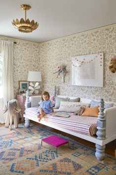 Charlotte's lovely room in the home of One King's Lane President Debbie Propst in Country Living, featuring Otomi (Taupe) wallpaper by Hygge & West x Emily Isabella!