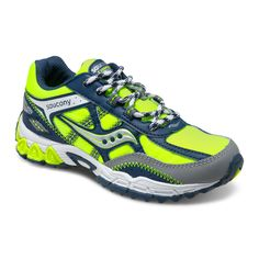 Saucony Excursion Lace in Citron/Navy/Grey. #boysrunningshoes #boysshoes #coolboyshoes #sauconyexcursion