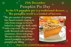 """#today 25th December is #NationalPumpkinPieDay #No""""L""""Day #Christmas  The song, """"Rockin' Around the Christmas Tree"""" contains the lyric, """"Later we'll have some pumpkin pie, and we'll do some caroling""""  #PumpkinPieDay #PumpkinPie #Pumpkin #Pumpkins"""