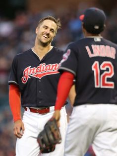 Cleveland Indians Lonnie Chisenhall and Francisco Lindor, after Chisenhall had knocked in a run in the 6th inning against the Tampa Bay Rays at Progressive Field in Cleveland, Ohio on June 21, 2016. Indians won 6-0 (Chuck Crow/The Plain Dealer)