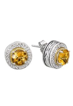 designer: Effy  see details here: Effy Jewelry Balissima Silver Citrine  Diamond Earrings, 2.14 TCW