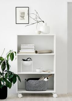 // White shelf with wheels from Finnish Design Shop 24:7 collection. Styling and photos Riikka Kantikoski