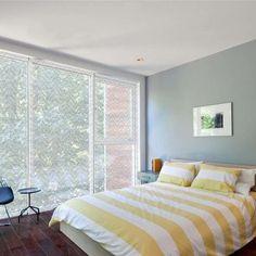"Hmmm...  Sliding glass door in Delia Shades' ""Katagami Waves"" pattern - contemporary - Bedroom - New York - Delia Shades"