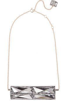 Lanvin Gold and silver-tone Swarovski crystal necklace | NET-A-PORTER
