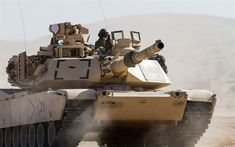 M1 Abrams, American main battle tank, the US, the American army, modern armored vehicles, desert, dust, sand